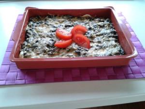 Špenátový koláč so šampiňónmi
